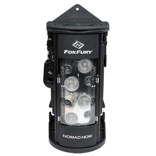 FoxFury Nomad® NOW Scene Light: Multi Activation - Up to 2,500 lumens and 3-24 hour run time. This light is cordless, rechargeable, waterproof and impact resistant. Shown with the magnet mount