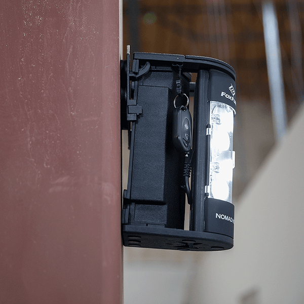 FoxFury Nomad® NOW Magnetic Mount - Shown mounted to a metal beam