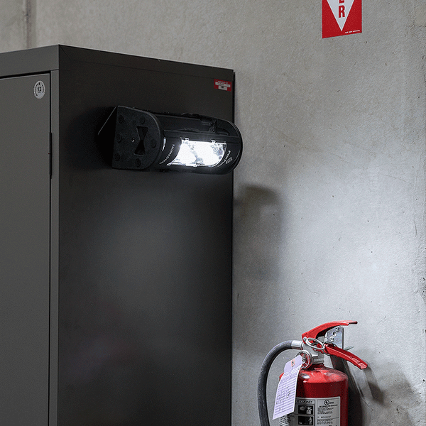FoxFury Nomad® NOW Magnetic Mount - Use two magnet mounts to place horizontally. Shown on a metal locker.