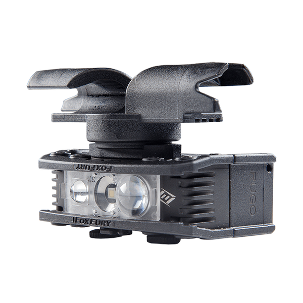 FoxFury Rugo Drone Mount for YUNEEC H520 and Typhoon H - shown attached to a FoxFury RUGO light