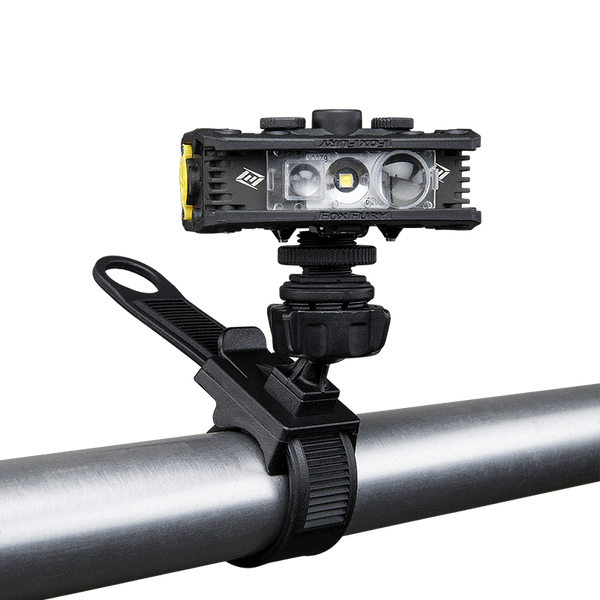FoxFury Handlebar/Drone Mount - fits bicycle or motorcycle handlebars. Shown attached to a roll bar