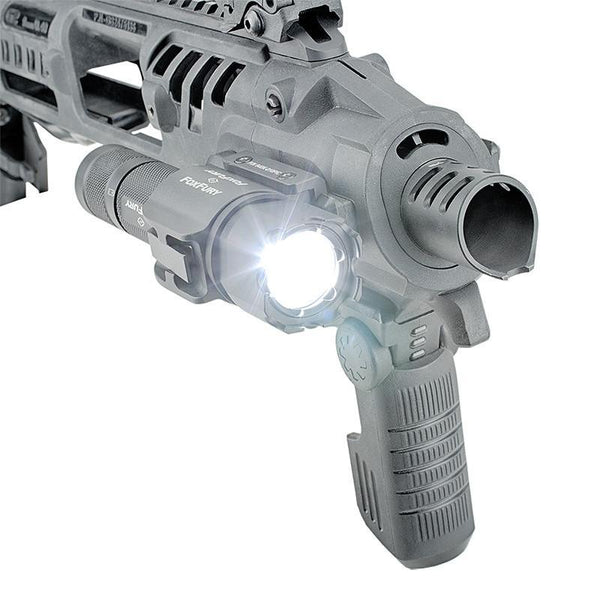 FoxFury SideSlide Picatinny Weapon Light and Flashlight - combination flashlight and a weapon light delivers a powerful 380 lumens. Rugged light also has Turbo-Strobe™. Shown on a gun