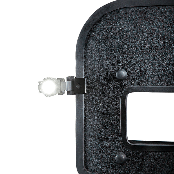 FoxFury Taker B10 Shield Light - adaptive ballistic shield light is fully waterproof, fire resistant, impact resistant, and can be used in all-weather situations. Turbo-Strobe™ mode included. Shown side mounted on a shield