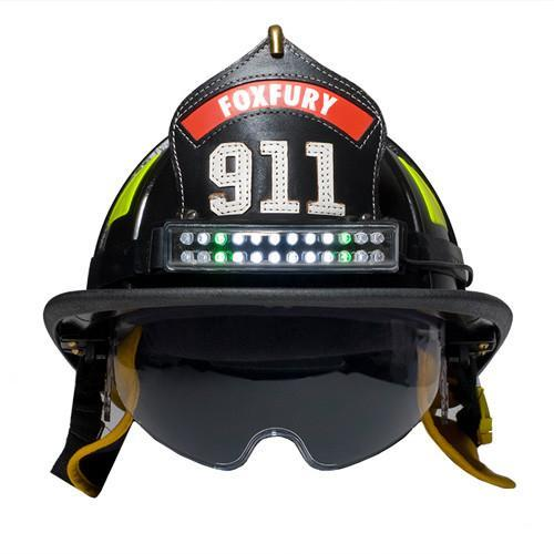 FoxFury Performance Intrinsic Tasker-Fire Helmet Light - Durable light is fire resistant and waterproof. Tilt plate allows the light beam to be angled up or down as necessary. Shown on a traditional fire helmet