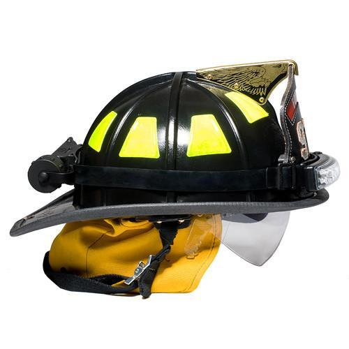 FoxFury Performance Intrinsic Tasker-Fire Helmet Light - Durable light is fire resistant and waterproof. Tilt plate allows the light beam to be angled up or down as necessary. Side view of the helmet light on a fire helmet