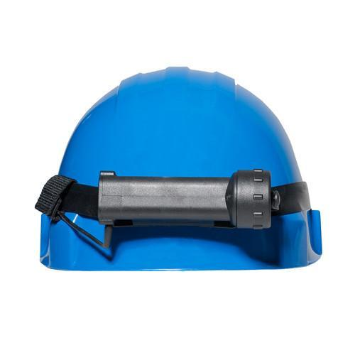 FoxFury Performance Intrinsic Tasker LED Helmet Light - can be used in hazardous areas. Shown on a helmet