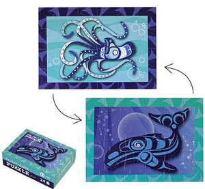 Whale & Octopus Mini Puzzle by Ryan Cranmer, Namgis