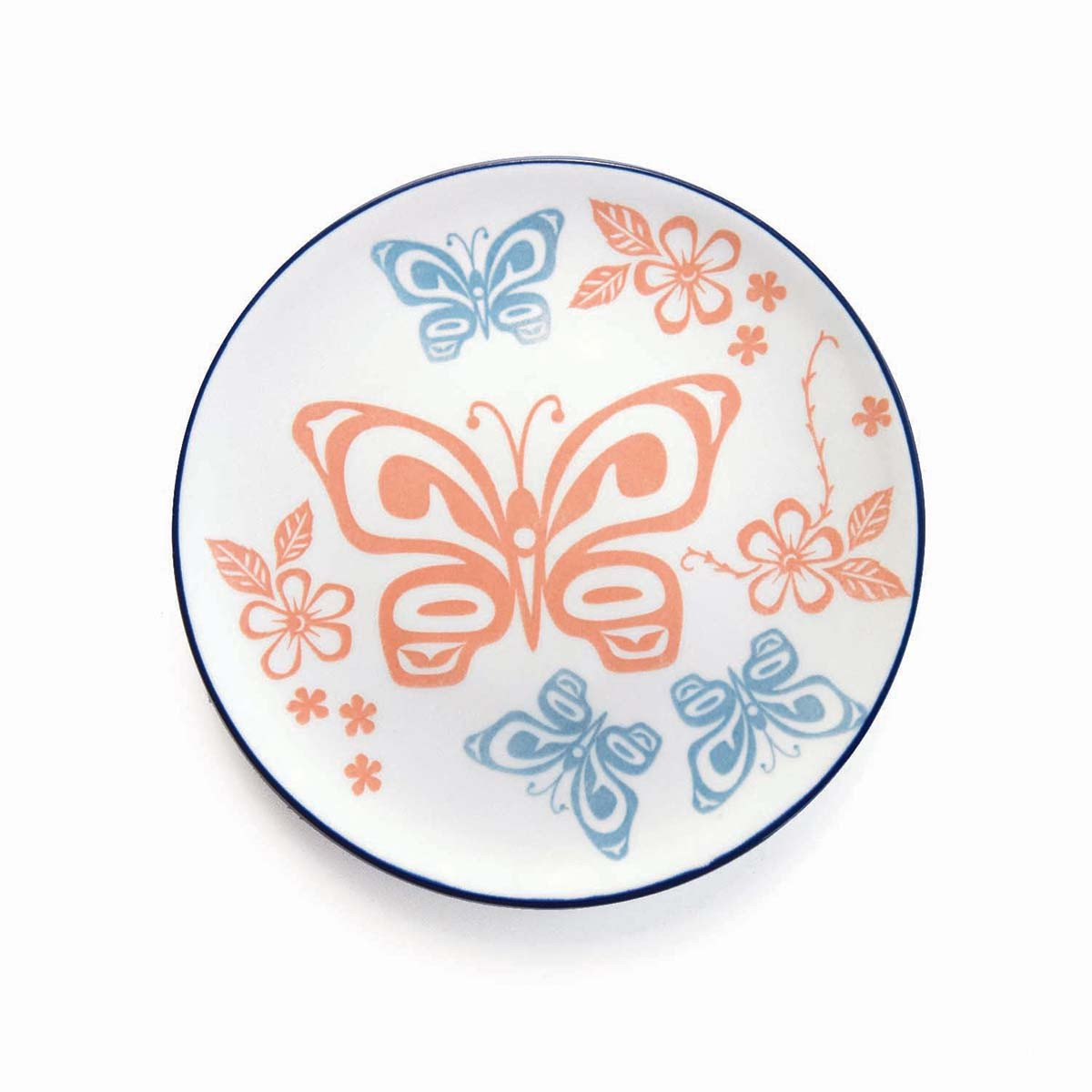 Butterfly and Wild Rose - Porcelain Art Plate