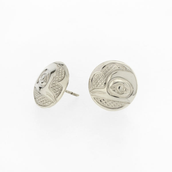 Sterling Sliver Stud Earrings by Carrie Matilpi, Kwakwaka'wakw/Carrier/Cree