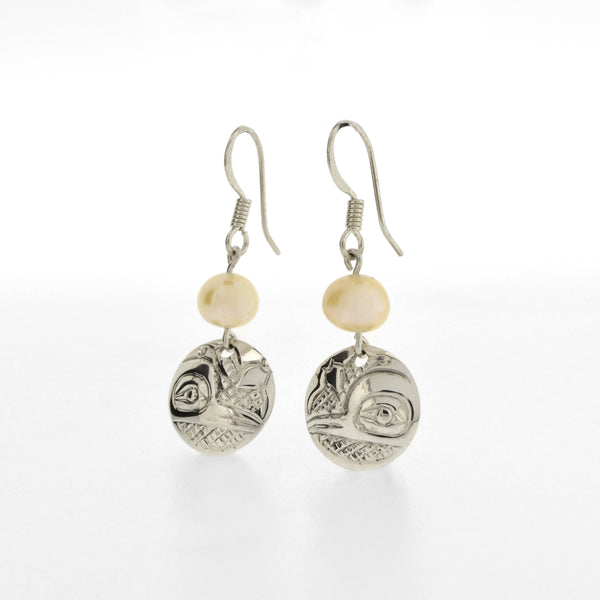 Sterling Silver Earrings with Freshwater Pearls by Carrie Matilpi, Kwakwaka'wakw/Carrier/Cree