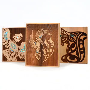 Large Cedar Panels with Abalone by Spirit Works