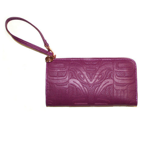 Embossed Vegan Leather Clutch by  Francis Horne Sr., Coast Salish