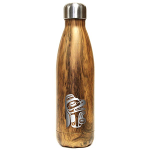 Large Insulated Stainless Steel Bottle by Ernest Swanson, Haida