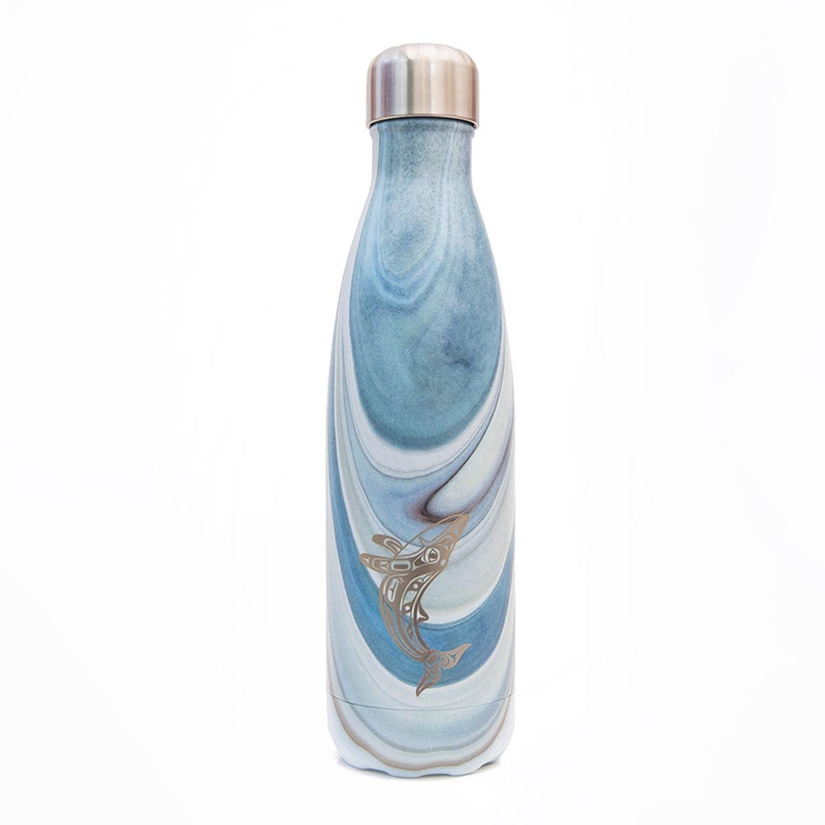 Humpback Whale - Medium Blue Wood Grain Bottle