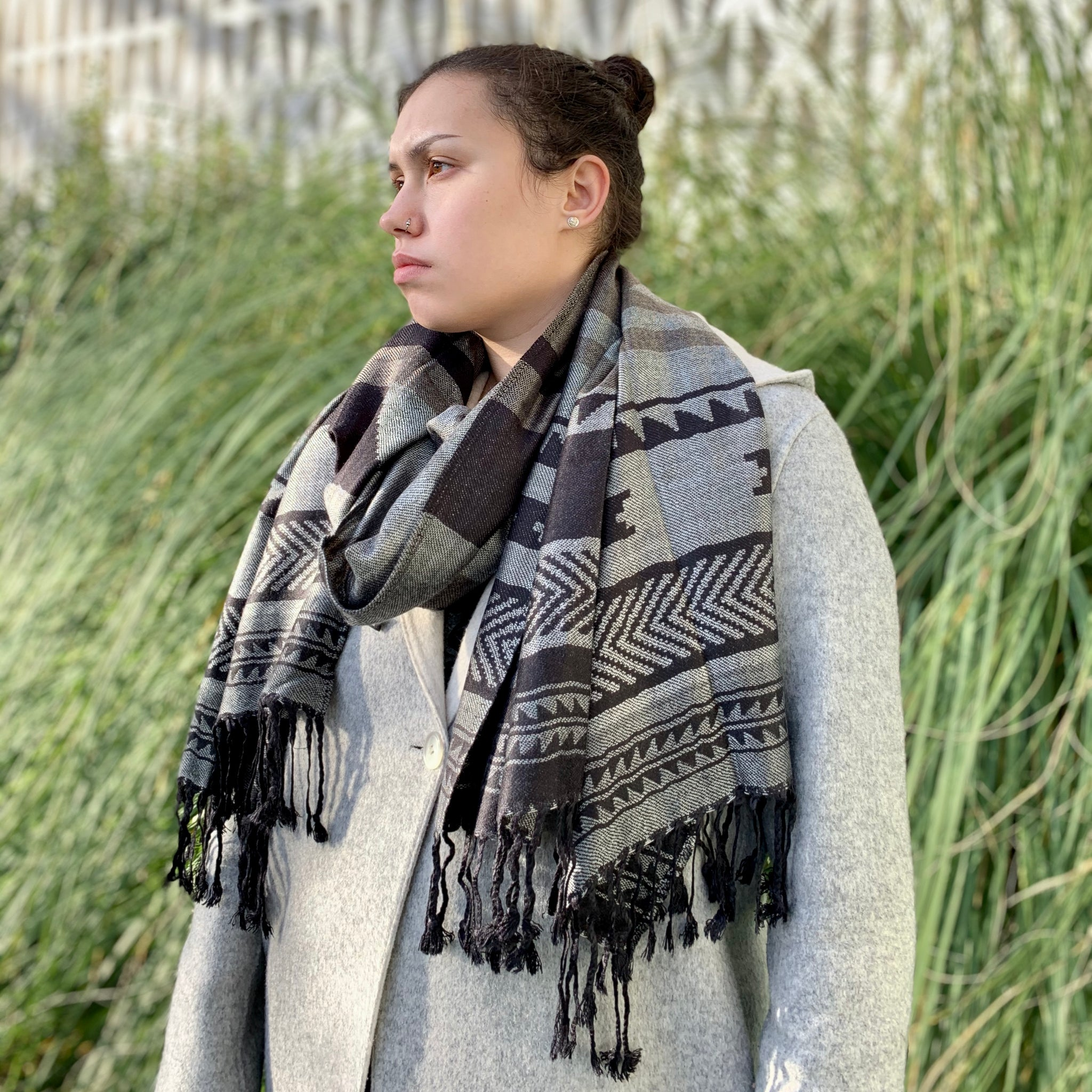 Salish Weaving Jacquard Shawl by Leila Stogan, Musqueam/Coast Salish