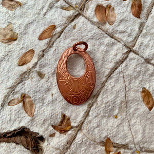 Copper Pendants by Victoria Harper, Kwakwaka'wakw/Carrier/Cree