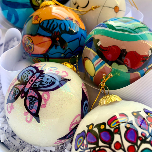 Hand-painted Glass Ornaments by Jessie Oonark, Keewatin