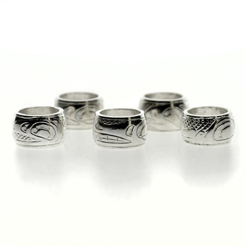 3 Sterling Silver Totem Beads by Justin Rivard, Cree