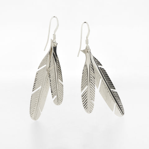 Eagle Feather Earrings by Justin Rivard, Cree