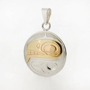 14K Gold and Sterling Silver Pendant by Justin Rivard, Cree