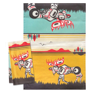 Printed Cotton Tea Towel by Terry Starr, Tsimshain