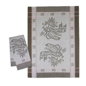 Cotton Jacquard Tea Towel by Morgan Asoyuf, Tsimshian