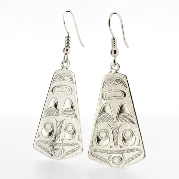 Double-sided Sterling Silver Earrings by Kelvin Thompson, Ojibwe/Haisla