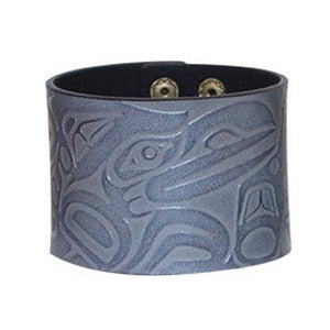 Grey Raven Leather Cuff