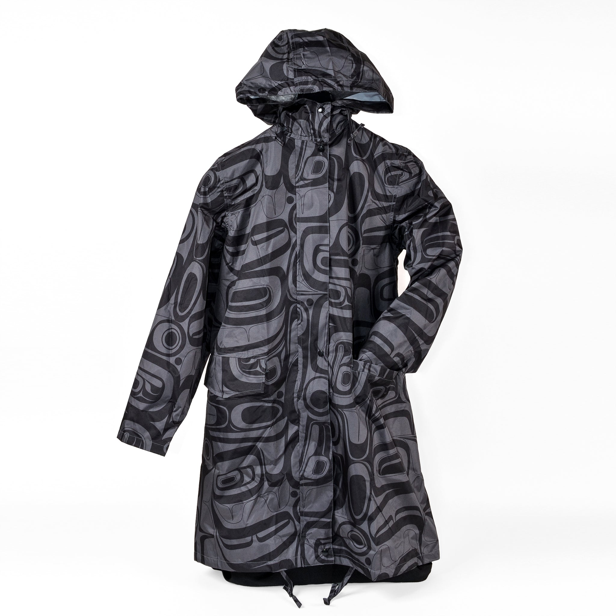 Hooded Rain Coat with Reusable Pouch by Kelly Robinson, Nuxalk/Nuu-chah-nulth