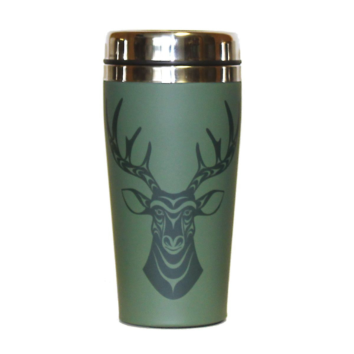 Matte Stainless Steel Travel Mug by Simone Diamond, Coast Salish
