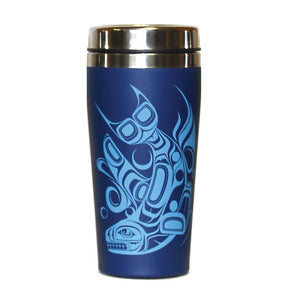 Matte Stainless Steel Travel Mug by Paul Windsor, Haisla/Heiltsuk