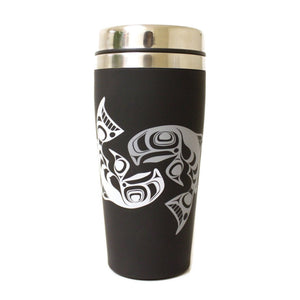 Matte Stainless Steel Travel Mug by Ryan Cranmer, Namgis