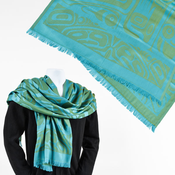 Polyester Jacquard Shawl by Clifton Fred, Tlingit