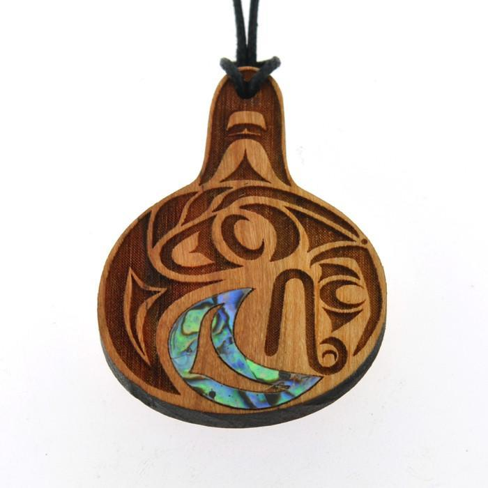 Cherry Wood Pendant with Abalone by Shain Jackson, Coast Salish