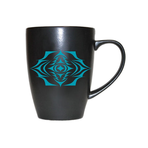 Matte Black Ceramic Mug by Simone Diamond, Coast Salish
