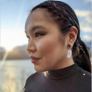 Raven Beak and Abalone Sun Acrylic Earrings by Jaimie Davis, Gitx̱san/Nisga'a