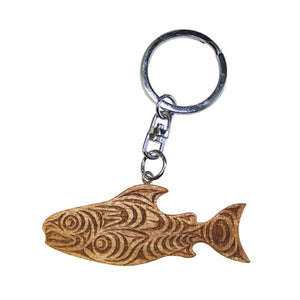 Reclaimed Mahogany Keychain by Joe Wilson-Sxwaset, Coast Salish