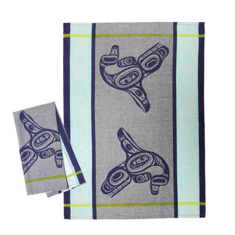 Cotton Jacquard Tea Towel by Ernest Swanson, Haida