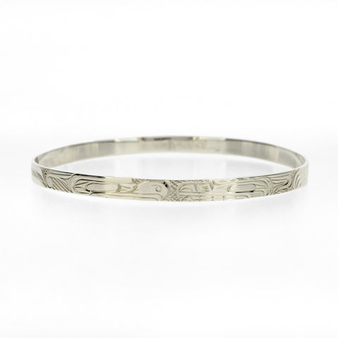 "3/16"" Sterling Silver Bangle by Victoria Harper, Kwakwaka'wakw/Carrier/Cree"
