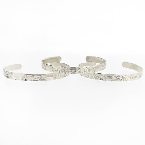 1/4 Sterling Silver Bracelets by William Cook, Kwakwaka'wakw