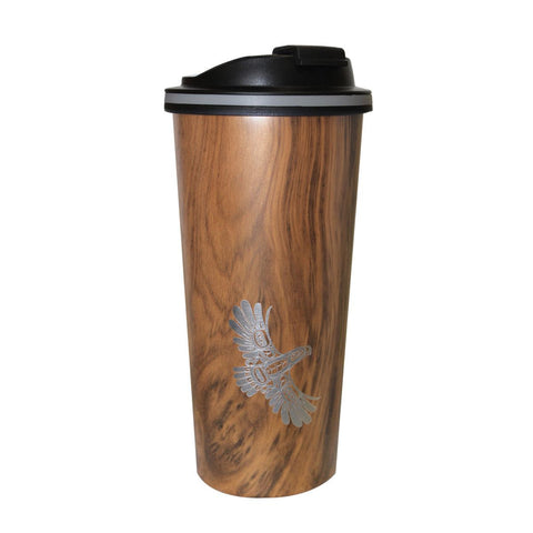 Eagle's First Flight - Wood Grain Travel Mug