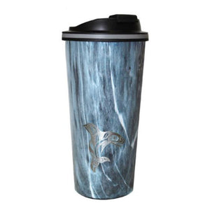 Raven Fin Killerwhale - Wood Grain Travel Mug