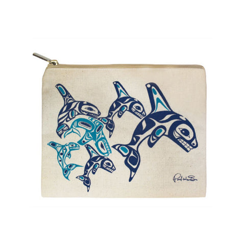 Orca Family - Canvas Zippered Pouch