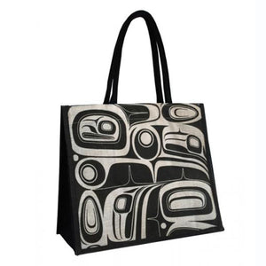 Jute Tote Bag by Kelly Robinson, Nuu-chah-nulth/Nuxalk