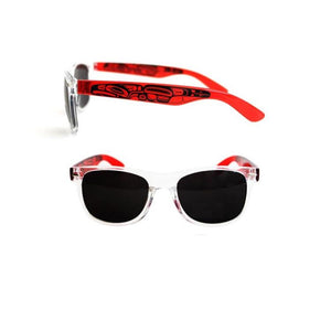 Clear Frame UV 400 Sunglasses by Ernest Swanson, Haida.