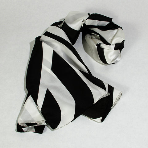 100% Silk Shawl Black/White
