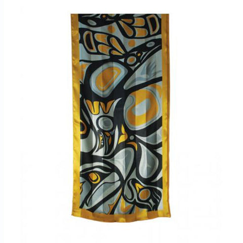 Polyester Satin Stripe Scarf by Bill Helin, Tsimshian