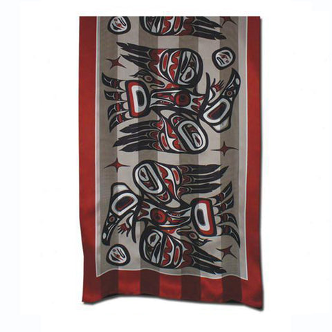 Silk Satin Stripe Scarf by Bill Helin, Tsimshian