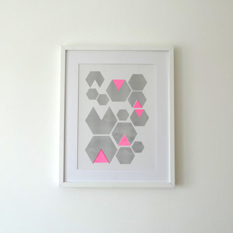 Hexagon Pink Print