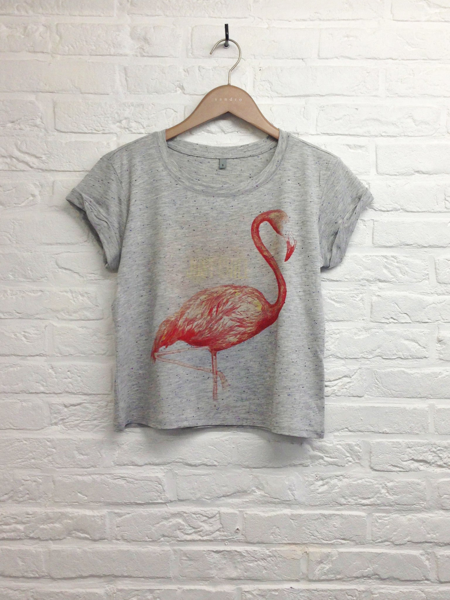 TH Gallery -Just chill Flamant rose - Crop top speckled Grey-T shirt-Atelier Amelot